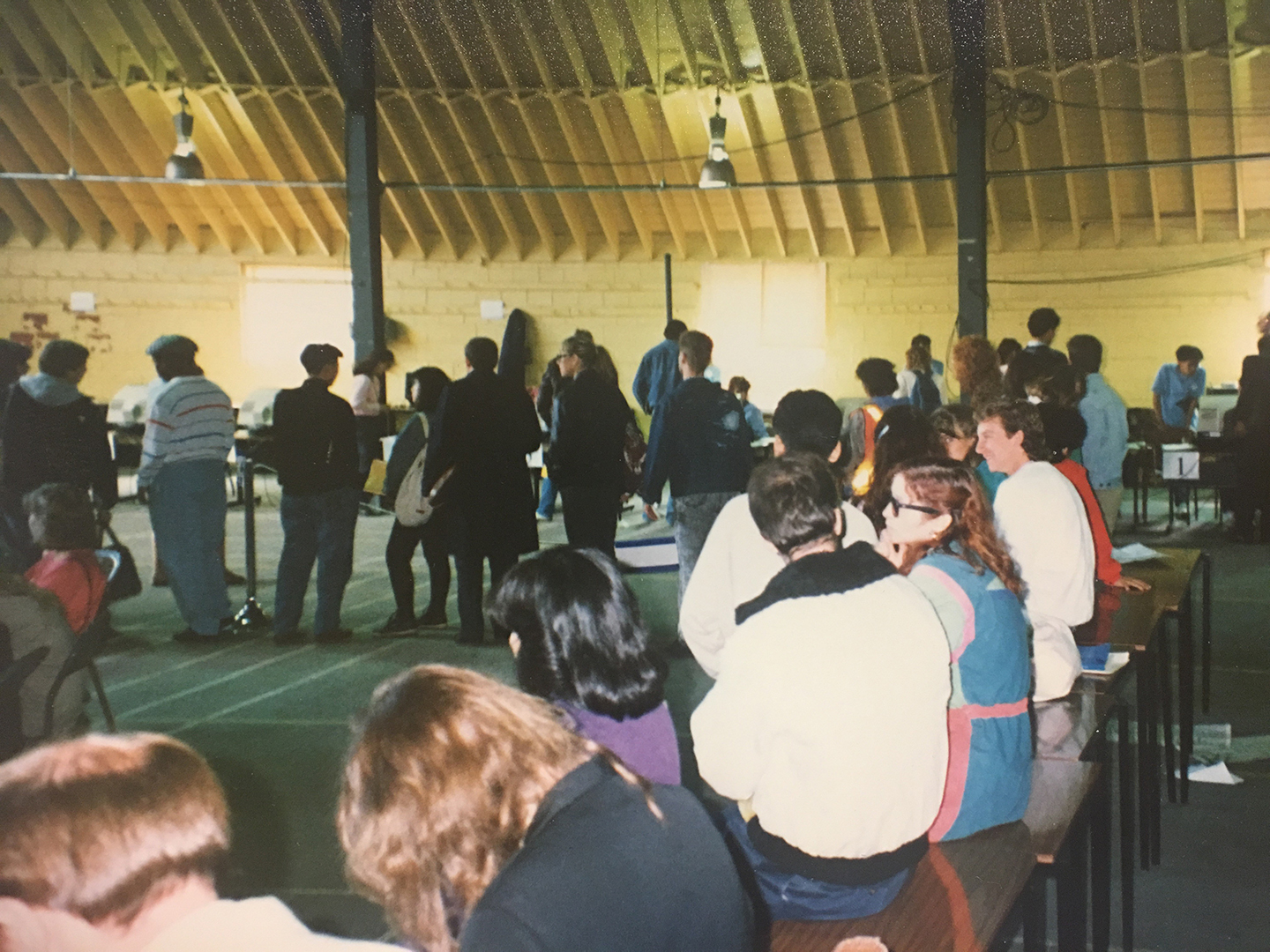 Students in line outside of Woodsworth College to register for classes in 1988